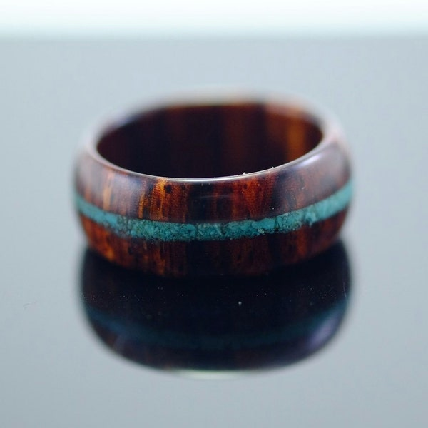 Cocobolo and turquoise wooden ring image 2
