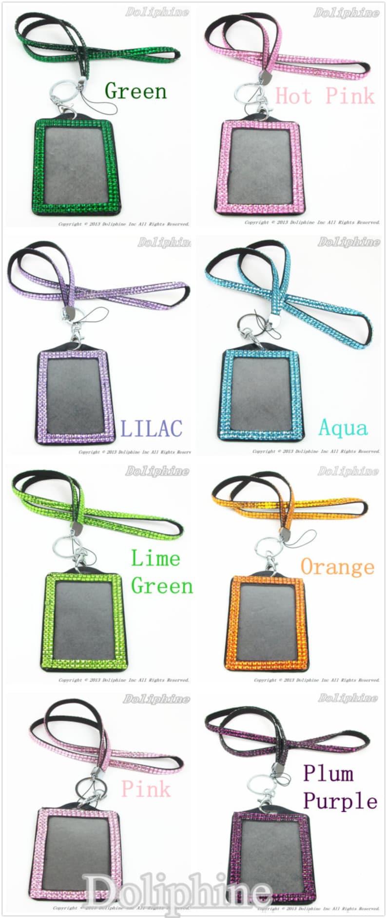 Multi-Colors Rhinestone Crystal Bling Necklace LANYARDs Key Chain Key Holder /& Vertical  Horizontal ID Badge Holder