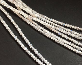 Rainbow moonstone 2.25-2.5mm micro-faceted rondelles.   Select a strand length.
