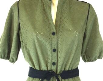 Modèle de travail ouvert vert Secrétaire robe taille moyenne 4 6 8 comprend ceinture noire Sans âge marque Vegan Polyester velouté