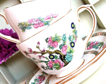 2 Duchess Bone China Indian Tree Tea Cup and Saucer Sets