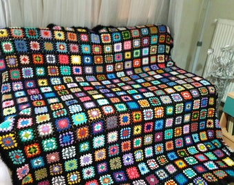 SALE! Crochet Afghan Blanket Granny Square Blanket Baby Blanket Baby Shower Gift Sofa Throw Choose Your Size Made to Order