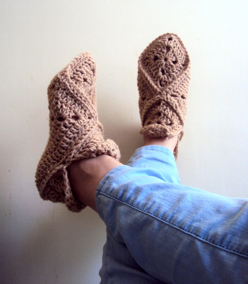 d269ca771a74 Granny Square Slippers Crochet Slippers Soft and Comfortable