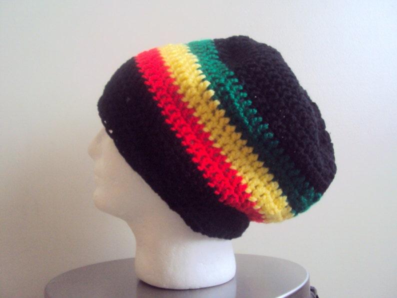 c40c1a782 Men Bob Marley Style Dreadlock Hat Crochet Super Slouchy Beanie Slouchy Hat  Festival Hat