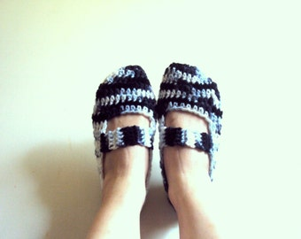 SALE! Crochet Slippers  Indoor Slippers House Shoes  Handmade Crochet Slippers Teen to Adult Fashion Accessories