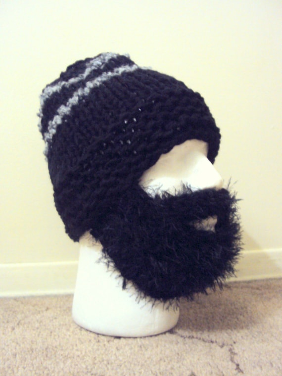 2e1eb4c5f7d SALE! Mens Chunky Beard Hat Knit Beanie Face Mask Winter Hat Snowboard Hat  Ski Hat Handmade Gift Ideas
