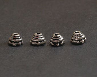 6 Leaf Carved  Caps 925 Sterling Silver Bead Caps Thai Silver Charm 925 Silver Spacer Beads Caps 10mm