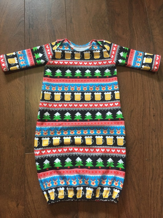 4f2ce582e Beer Sweater Christmas Tree Baby Gown Newborn Layette