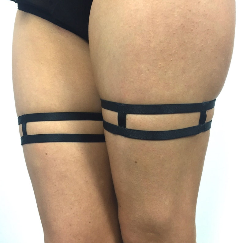 852ee5784c9 Strappy garters adjustable leg harness in black or white