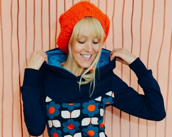 """Hoodie """"LOTTE blue red cream"""" hoodie flower retro"""