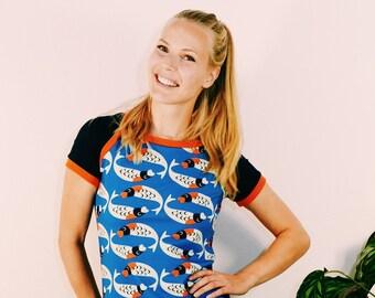 a99723a1b63d4 Sporty T-Shirt I LIKE KOIS bleu foncé dames chemise d'été imprimé moderne  chemise serrée chemise à manches haut