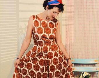 Daisykleid Little wonder trees brown cream wrinkles dress dress with wrinkles wood