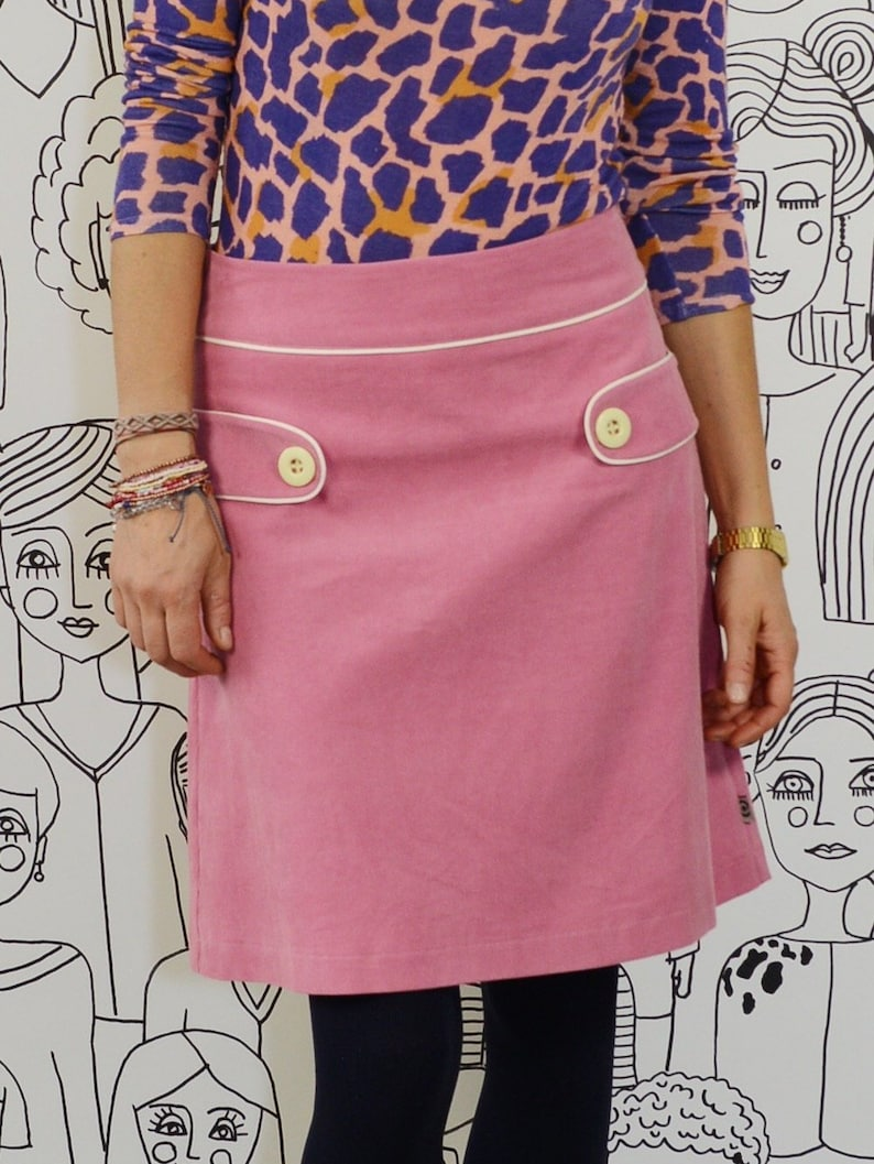 3ac7bae90c41be Retro cord skirt cordi dark pink cream Alinie Rock midi knee | Etsy