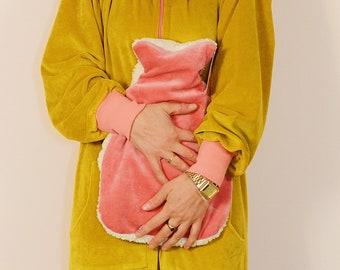 Hot water bottle Hot water NICKI LOVE ROSA cream cuddly soft Retro Bonnie & Buttermilk pattern unisex