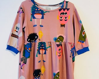 """Casual dress AUTUMN- YOKO """"Monster Party"""" pink colorful cotton jersey"""