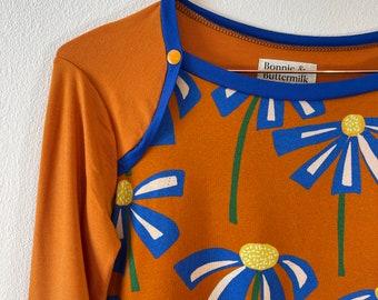 Sporty 3/4 Sleeve Top Reikja blue creme rust Shirt