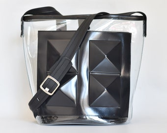 Clear big bag / black and clear shoulder bag / clear crossbody bag / vegan bag / big black and clear bag / medusa vegan bags / vegan handbag