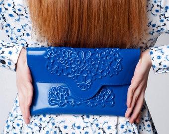 Vegan clutch bag - blue clutch purse - vegan clutch bag - blue envelope clutch bag - floral bag womens - designer vegan bag - clutch purse