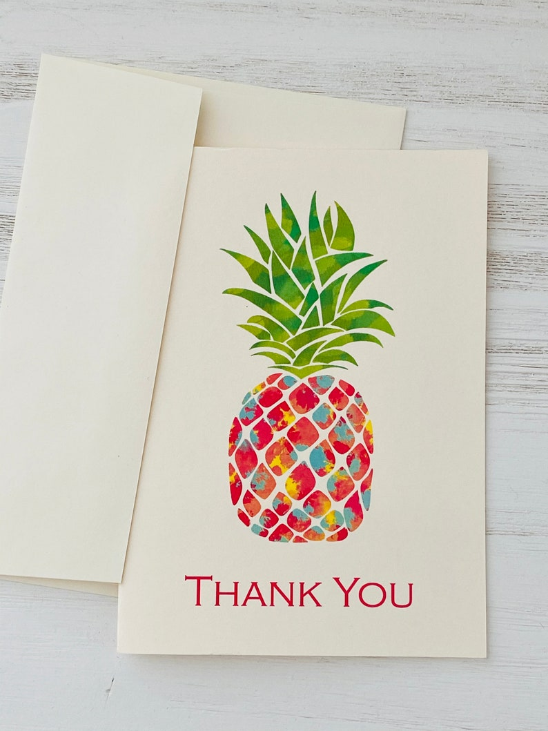 Thank You Notes Set of 10 Colorful Pineapple Note Cards