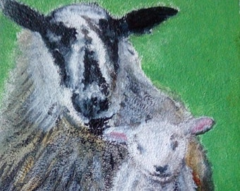Aceo Original Sheep Ewe and Lamb Wildlife Painting Drawing Animal Oil ATC Art Card
