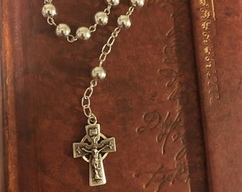 SOLID STERLING Irish Tenner One Decade Rosary Pocket Purse Irish Celtic Pride