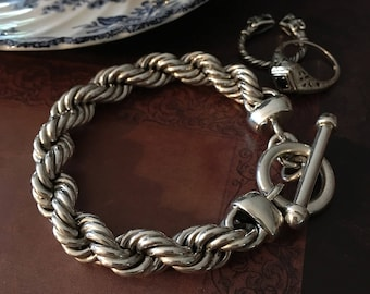 Womens SUPER CHUNKY Solid 925 Sterling Rope Bracelet nearly 60.0 GRAMS!