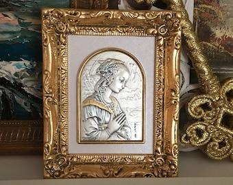 Sterling Silver Fillipo Lippi Madonna Image Framed Photo Icon Altar Gold Leaf Frame Hand Painted Highlights