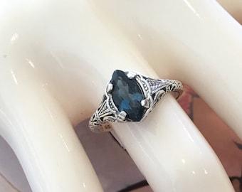 STERLING SILVER London Blue Topaz Ring Size 6 Antique Victorian Art Nouveau Style