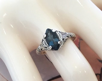Sterling Genuine London Blue Topaz Ring LAST ONE Victorian Antique Vintage Solid 925 Sterling Silver with Ring Box Antique Design Size 7
