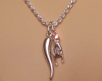 """Italian Good Luck Hand Sign Charm Pendant Necklace Sterling Silver 16/"""" Chain"""