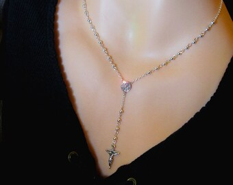 SUPERIOR QUALITY Sterling Silver Rosary Necklace Solid Sterling 925 All Sterling Micro Mini Dainty Petite Tiny Yolanda Foster Housewives