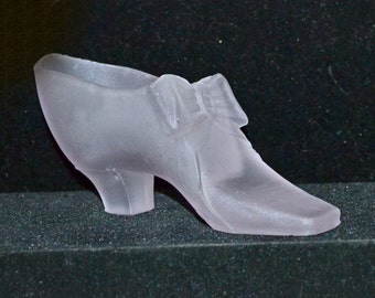 Antique Frosted Glass Victorian Slipper