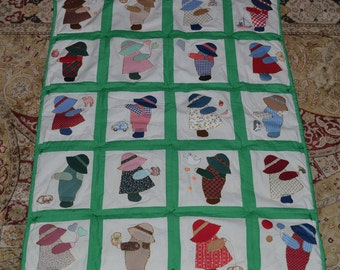 Vintage Sunbonnet Sue Crib Quilt Wall Hanging