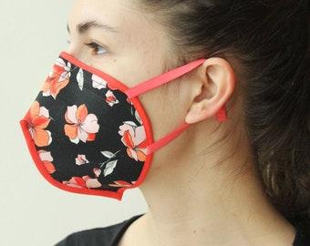 Stoffmaske mit Bügel und Gummibändern Rot-schwarze Blumen