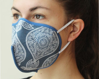 Stoffmaske mit Bügel und Gummibändern blauer Orient