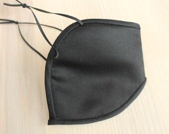 Satin-Stoffmaske mit Bügel und Gummibändern Baumwollsatin schwarz