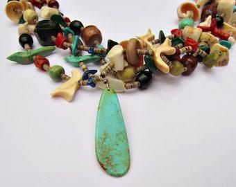 "1990's 3 Strand Fetish Heishi Necklace Turquoise Coral Lapis Lazuli Shell 30"""