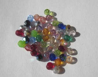 50 (PV23-66) 4mm Czech glass faceted beads-