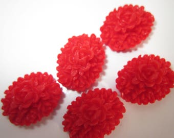 4 resin flowers craft red bouquet 12x16mm (8)