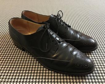 6e954d8ef7c53 1990's, low heel, wing tip, spectator shoes, in black, leather, by Ferragamo,  Women's size 10