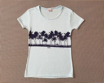 6b00d73e0 1977, Maui, baby tee, in baby blue and navy, by Crazy Shirts, Women's size  Small