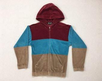 19b90427315fc 1980's, velour, zip up, hoodie, in burgundy, turquoise and taupe, by Pierre  Cardin, Women's size Small