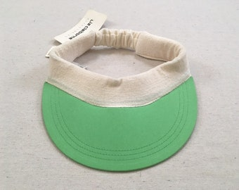 31bdfc45 1980's, visor, in green with white, terrycloth band, by Liz Claiborne