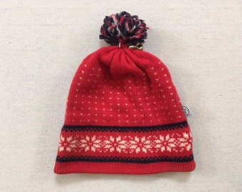 8bc32861afd19b 1980's, wool, pompom, snowflake design, ski hat, in red, with white and  navy blue, by Igloo