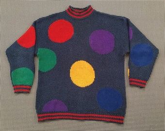 1e74f100b3e 1980's, ramie/cotton, oversized sweater, in charcoal blue, with giant,  colorful polkadots, by Liz Claiborne, Women's size Medium