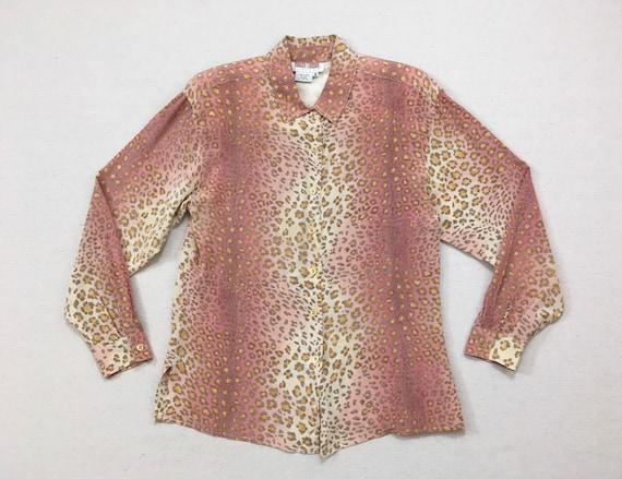 1990's, silk, cheetah print, blouse, in beige, ros
