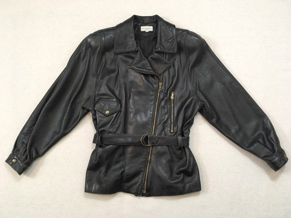 1990's, belted, soft leather, jacket, in black, by