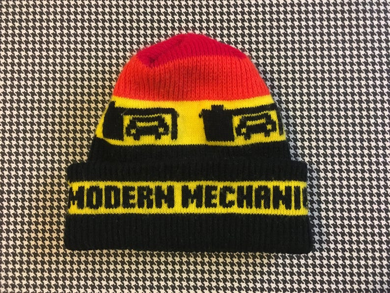 Adult Size. in red orange Modern Mechanic beanie yellow and black 1980/'s