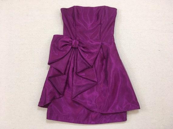 1990's, strapless, big bow, formal, mini-dress, i… - image 1