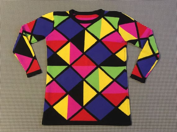 1990's, wool, sweater, in neon, triangle design, W